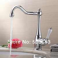Great Sales Swivel 360 Chrome Brass Bibcock Kitchen Faucet Spout Vessel Basin Sink Single Handle Deck Mounted Mixer Tap MF-458