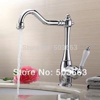Great Sales Swivel 360 Chrome Brass Bibcock Kitchen Faucet Spout Vessel Basin Sink Single Handle Deck Mounted Mixer Tap MF-458