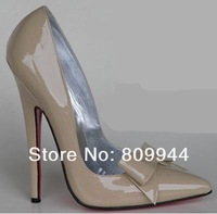 Gray pointed bow heels 13CM sexy high-heeled pumps superfine large size shoes [60]