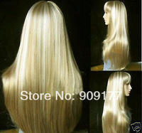 Natural Kanekalon costum Medium hair no lace Harajuku Fashion long blonde straight made wig Kanekalon Fiber Hair wigs