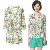 Free shipping new 2014 European style loose woman blouses color floral retro print ZA long-sleeved V-neck shirt Tops plus size