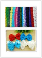 Free shipping 17 colors 11CM chiffon flower lace/6 line chiffon flower trim/DIY  rose Bows rosette Bows