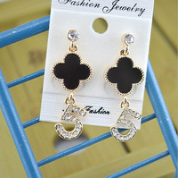 Popular Style ! Hot Sale NO. 5 + Clover  Diamond Drop Earrings ,Female. Minimum Order $10 Before Free Shipping . Can Mix Orde
