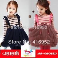 2014 Spring children's clothing child stripe suspenders kid's skirt female child one-piece dress princess dress