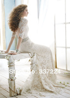 Vintage Mermaid Wedding Dress Lace Trumpet Brush Bridal Gown Custom New