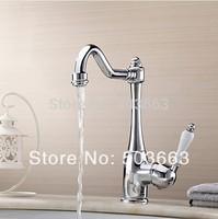 Hot Sales Swivel 360 Chrome Brass Bibcock Kitchen Faucet Spout Vessel Basin Sink Single Handle Deck Mounted Mixer Tap MF-459