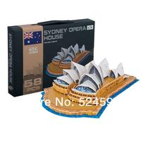 Hotsale homdecor Gift popular Handmade the Sydney opera house decoration 3D diy paper & EPS foam colorful puzzle toys WJ1025