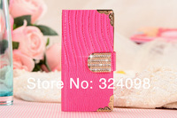20pcs/lot High Quality Leather Case Luxury Crystal Bling Flip Wallet Card Cove For iphone 4 4S 5 5S 5C Free Shipping
