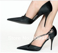 10CM/10 cm in Europe and America super sexy stiletto heels shallow mouth pointed high-heeled leather ordering albums (61]