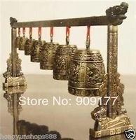 free shipping Wholesale jewelry Exquisite Bronze Copper Meditation Gong with 7 Ornate Bells with Dragon Design