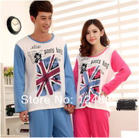 Autumn spring knitted cotton union jack couple pajamas sleepwear female male long-sleeve lounge set housecoat 51312