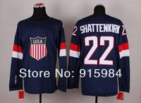 2014 USA team Olympic game men's Ice Hockey Jersey 22 kevin shattenkirk white blue
