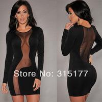 Free shipping Black Mesh Spliced Sexy Mini Dress Sexy Clubwear Wholesale 10pcs/lot  2014 Dress New Fashion 21082