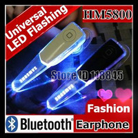 2014 New LED Flashing Bluetooth headset HM5800 earphone Stereo Music For samsung N7100,i9300,i9220,i9500 iphone4s 5s Universal