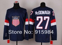 2014 USA team Olympic game men's Ice Hockey Jersey 27 ryan mcdonagh  white blue
