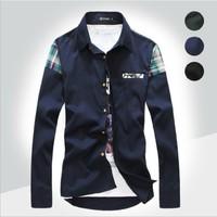 2014 Mens Slim fit Unique neckline stylish Dress long Sleeve Shirts Mens dress shirts 3colors ,size: M-XXL D467