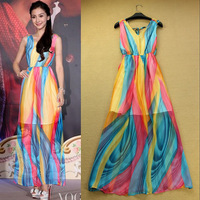 New 2013 To 2014 Fashion Romantic Elegant Stripe Color Bock Decoration Full Print Dress Elegant One-piece Dress F15914