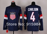 2014 USA team Olympic game men's Ice Hockey Jersey 4 john carlson white blue