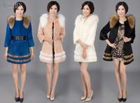 EMS Free Shipping 100% Real Genuine Natural Raccoon Fur Collar Luxury Slim Long Rabbit Fur Coat Jackets Garment Women PC86