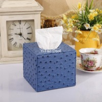 Free shipping Euro PU Leather lovely creative Blue Ostrich Pattern Squared tissue box holder For House & Car