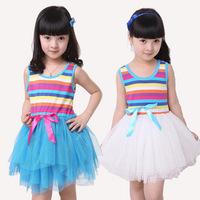 2014 summer Free shipping girl puffy rainbow dress dancing clothing princess tutu dress /children's dresses