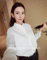 Women Solid White Turn-down Collar Long Sleeve Button Up Front Large Size Shirts Free Shipping A414-1152