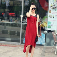 New Fashion Korean Style Forked Tail Lace Dress Sleeveless Jiont Sundress Beach Dress Free Shipping