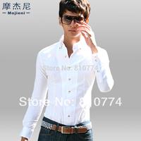 Big Discount High Quality Men's 2014 spring male clothing  long-sleeve shirt slim casual t-shirt white tight