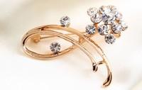 rhinestone brooch pin ,gold plating crystal brooch pin size 4.4*3.4cm , item LX-1267