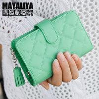2014 women's genuine leather wallet short design sheepskin plaid wallet female short design zipper wallet