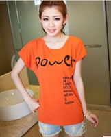 2014 summer batwing sleeve basic shirt women's top loose t-shirt female short-sleeve