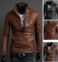 Free Shipping man spring 2014 paragraph zipper male stand collar motorcycle leather clothing leather jacket