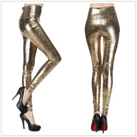 9616 high waist faux leather patent leather gold serpentine leather pants print slim legging sexy leggings