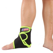 Free Shipping SX663-G Sports Basketball Elastic Silicone Ankle Foot Brace Support Wrap - Green Black(China (Mainland))