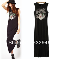 Free shipping fashion long dress new 2014 cat print autumn -summer sleeveless novelty maxi dresses vestidos