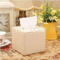 Free shipping PU Leather Euro lovely creative Beige Knitting Pattern Squared tissue box holder For House & Car