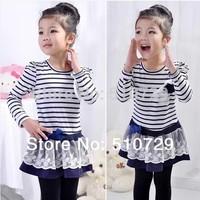 Wholesale Girl's Puff Sleeve Dress Striped Cotton Dresses Lace Tutu Skirts 2014 Cute Flower Dress Kids Clothes 5pcs/lot Fahion