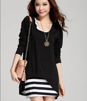 Black Striped Design Women One-Piece Clothing Size M-3XL Fashion Chffon Shirt 2014 Sweet Lady Blouses Dress ML XL