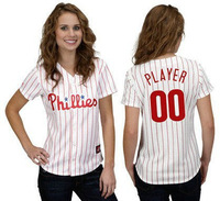 New custom made women baseball jersey Phillies white with pink strip personalized custom Your Name Number,embroidered logos