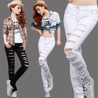 Promotion 2014 New arrival West styles ladies hole cut denim pants pencil pants Slim Free shipping,White/Black