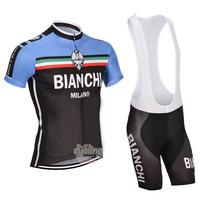 Free Shipping!MEN'S NEW Team Cycling Short Sleeve Jersey+BIB SHORTS Bike Clothes Bicycle Clothes 2014 BIANCHI  BLUE&BLACK SZ: