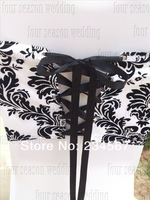 Russian Free Shipping 50pcs White and Black flocking taffeta chair cover sash also call elegance damask corset chair sash