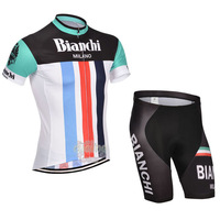 Free Shipping!MEN'S NEW Team Cycling Short Sleeve Jersey+SHORTS Bike Clothes Bicycle Clothes 2014 BIANCHI  WHITE&BLACK GREEN SZ: