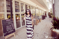 Free shipping new 2014 bohemia chiffon dress white black stripe long dress women's fashion summer beach dress