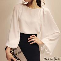 2014 New Design Runway Fashion High Sreet Loose Blouse long batwing sleeve women's vintage shirts FW1-6017