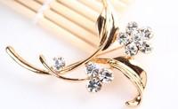 rhinestone brooch pin ,gold plating flower booch pin  , item LX-1281