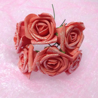 Wholesale Free Shipping PE Cotton Rose Shining Powder Fake Rose Cartoon Bouquet Material Artificial PE Foam Flower 72PCS/LOT