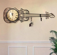 The new European style Tieyi ornaments bell ,iron hook,guitar wall clock wall clock,living room furniture,metal guitar,coat rack