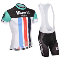 Free Shipping!MEN'S NEW Team Cycling Short Sleeve Jersey+BIB SHORTS Bike Clothes Bicycle Clothes 2014 BIANCHI  WHITE&BLACK SZ: