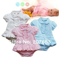 2014 free shipping 6pcs /lot baby clothing  baby short sleeve romper baby girls summer dress